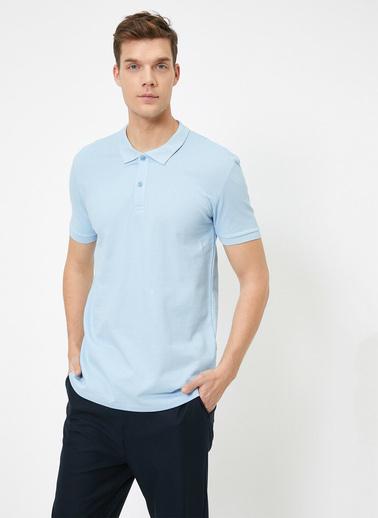Koton Polo Yaka Kisa Kollu Slim Fit Basic T-Shirt Mavi